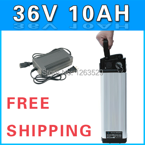 36V 10AH battery , Lithium Electric Bicycle Battery with slim Aluminium Case + BMS + Chargrer + FedEx Express Shipping 0153615-2(China (Mainland))