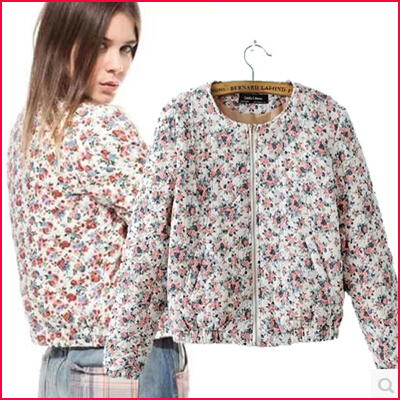 2015 European style winter warm female printed short cotton flower zipper Jackets coat women new Design o neck Parkas - AliExpress China mall store