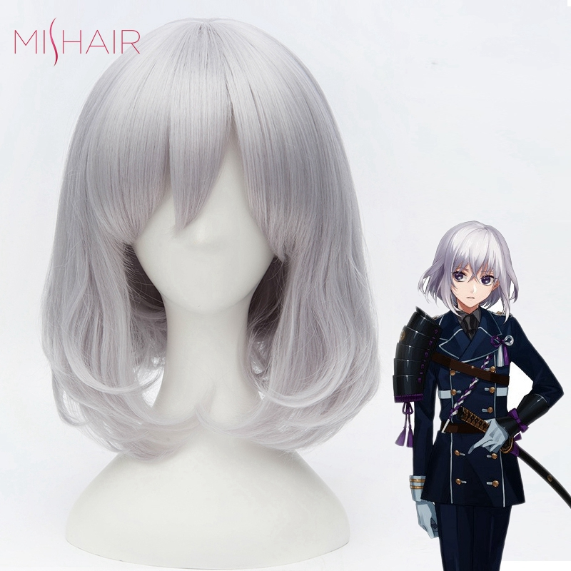 Mishair Touken Ranbu Cosplay Wig White Silvery Color Synthetic Anime Wigs For Women Cosplay Hair Wig Silvery(China (Mainland))