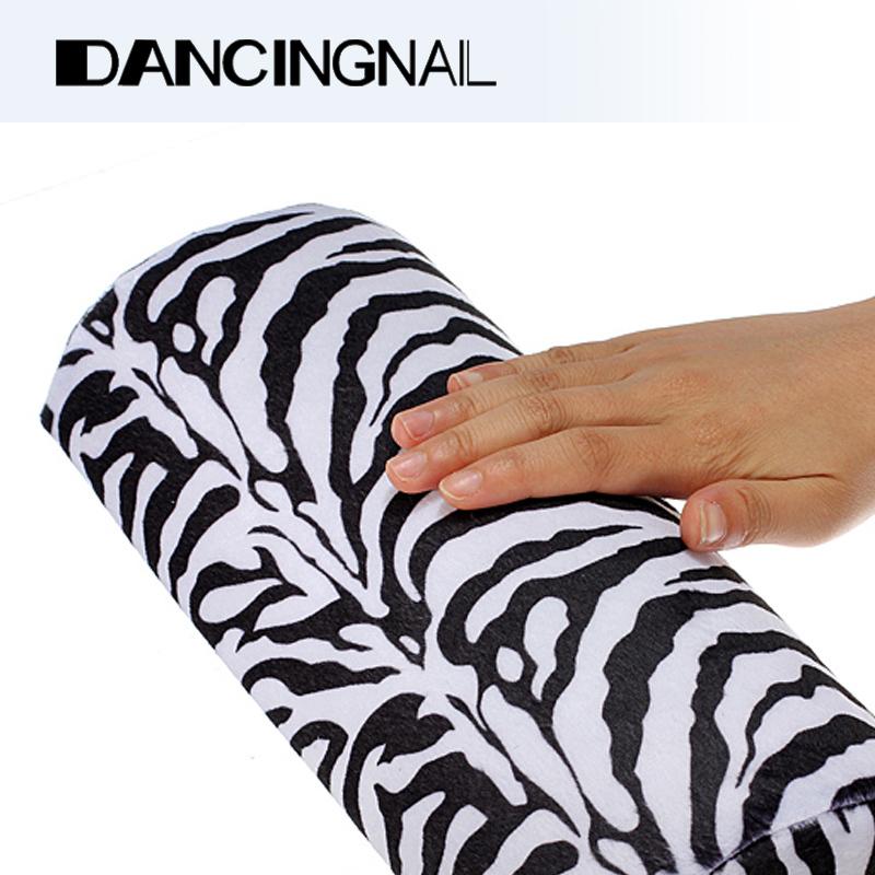 Free Shipping Soft Zebra Stripe Hand Rest Cushion Pillow Nail Art Design Equipment Manicure Half Column Sponge Tools(China (Mainland))