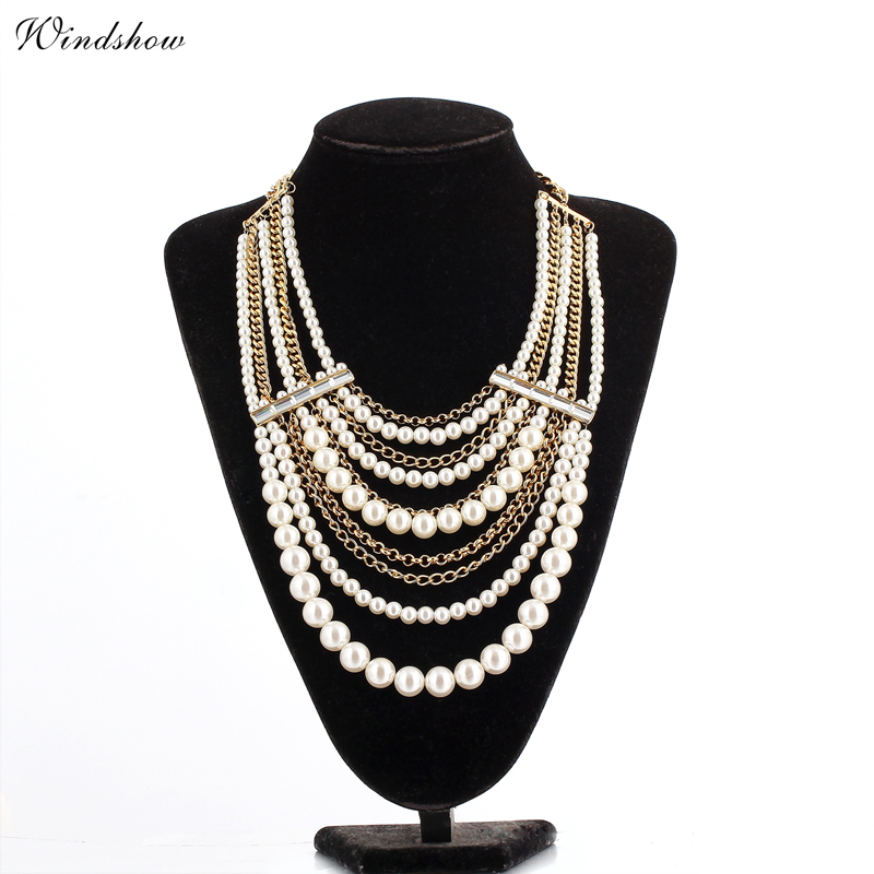 18K Gold Plated Chunky Layered Big White Pearls and Chains Crystals Statement Choker Collars Maxi Necklace Jewelry For Women(China (Mainland))