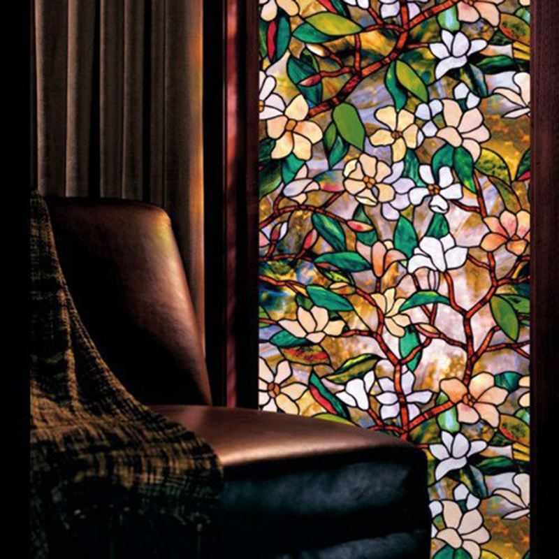 Glass Window Privacy Film Textured/Stained Effect Floral Security Static Clings 45x100cm 17.7x39.3(China (Mainland))