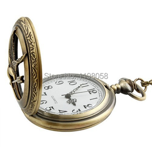 Free shipping 2015 Men hollow fullmetal alchemist gold cheap quartz hunger games pocket watch necklace chain