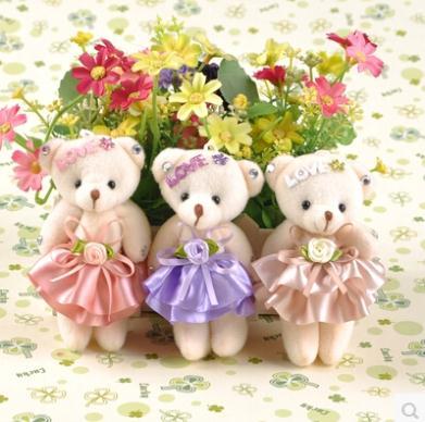New plush toys nimi teddy bears 12pcs/lot 12CM teddy cartoon bouquet material/DIY phone pendant//king ring/wedding accessoried(China (Mainland))