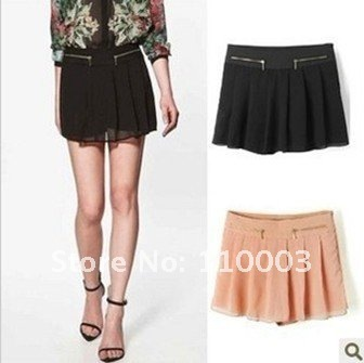 Double zipper Sasa double-layer the culottes chiffon shorts A545