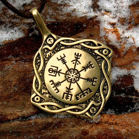 10 st ck vegvisir wikinger kompass isl ndisch amulett. Black Bedroom Furniture Sets. Home Design Ideas