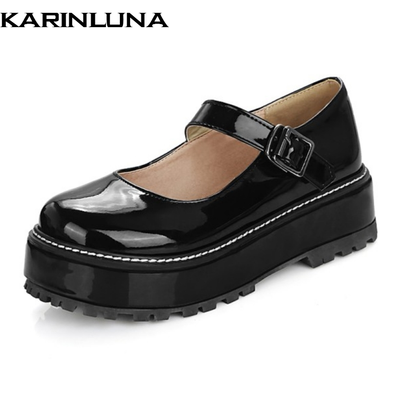 KARINLUNA Big Size 34-43 Women Mary Jane Style Thick Platform Flat Shoes Casual Dress Spring Autumn Shoes(China (Mainland))