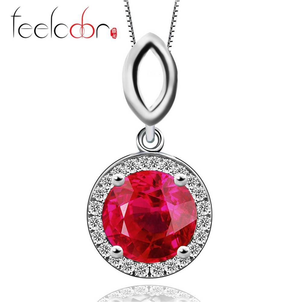 Hot 2.8ct Pigeon Blood Red Ruby Round Pendant 925 Sterling Silver Free Shipping<br><br>Aliexpress