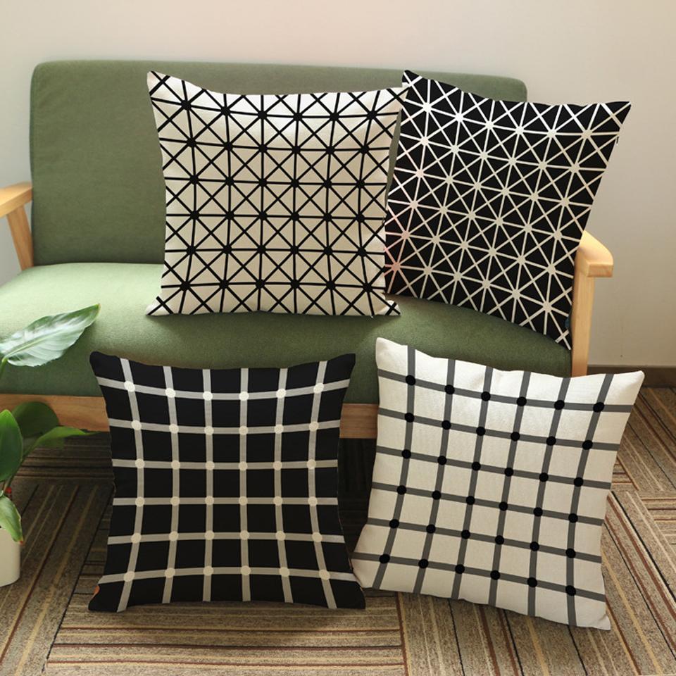 BLACK WHITE PLAID Printed Linen Cushion Cover For Sofa Throw Pillow Case Chair Car Seat Pillowcases