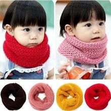 New Design Soft Candy Color Neck Bib Scarfs Kids Knitted Collar Winter Warm Scarf for Children Baby Girls Neckerchief(China (Mainland))