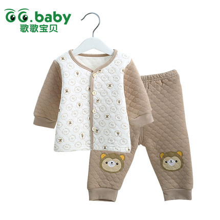 2015 New Cotton Winter Suit Baby Girl Clothing Set Animal Bebes Suit Warm Tops Pants Infant Newborn Baby Boy Winter Clothes Sets(China (Mainland))
