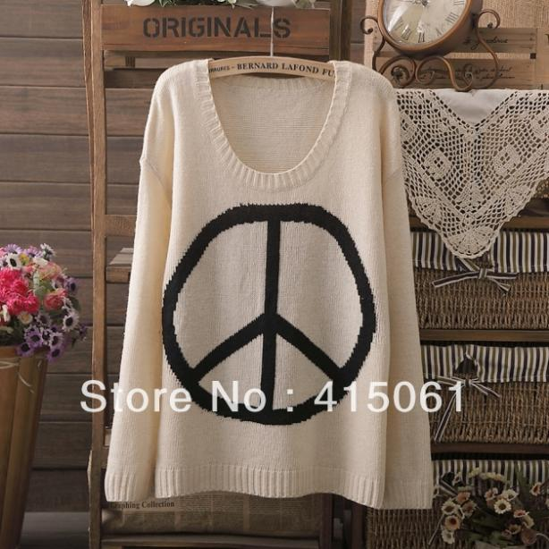 2013 Fashion Womens' Peace Sign Print Womens' Pullover Round Neck Sweaters Casual Knitwear Quality knitting(China (Mainland))