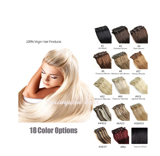 5A 10 Pcs 200 grams 18inch - 26inch clips in Straight #12 #16 #18 #30 33# Full Head remy Hair Clip in Hair Extension Straight