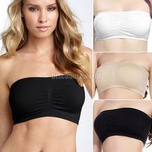 New Fashion Ladies Women Comfort Strapless Sport  Bandeau Crop Top Bra Boob Tubes S-XXL Free Shipping