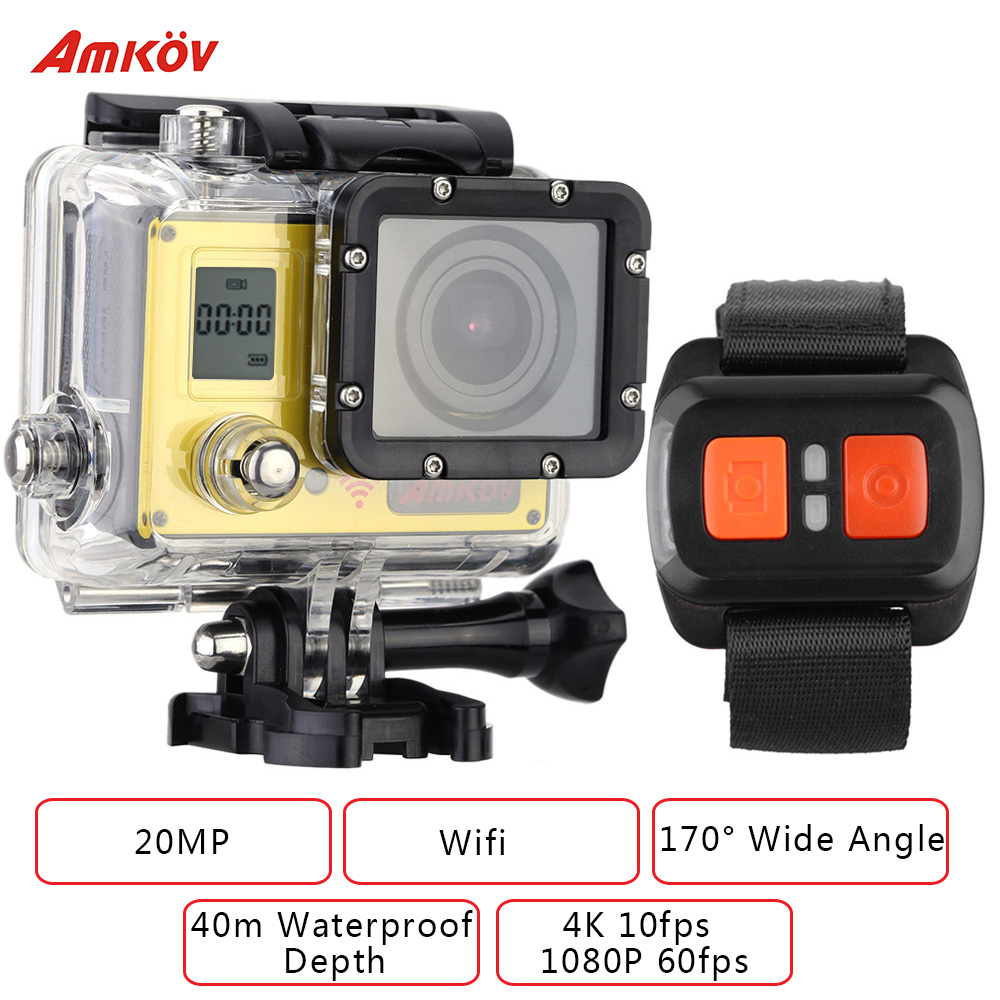 AMKOV AMK7000S 1080P 60fps Action Camera Wifi 4K 20MP 2.0 in LCD Waterproof 40m 170 Wide Angle Car DVR with Remote Control Watch(China (Mainland))