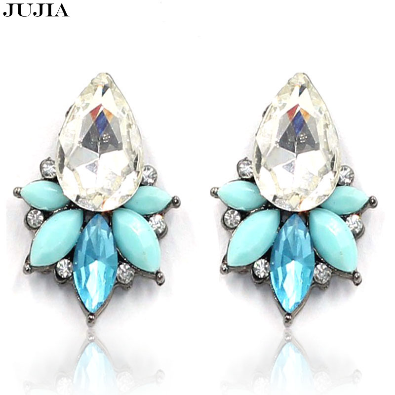 2016 New Boucle d'oreille Crystal Pendientes Jewelry Brincos Grandes Femme bijoux Summer Style stud fashion earrings india(China (Mainland))
