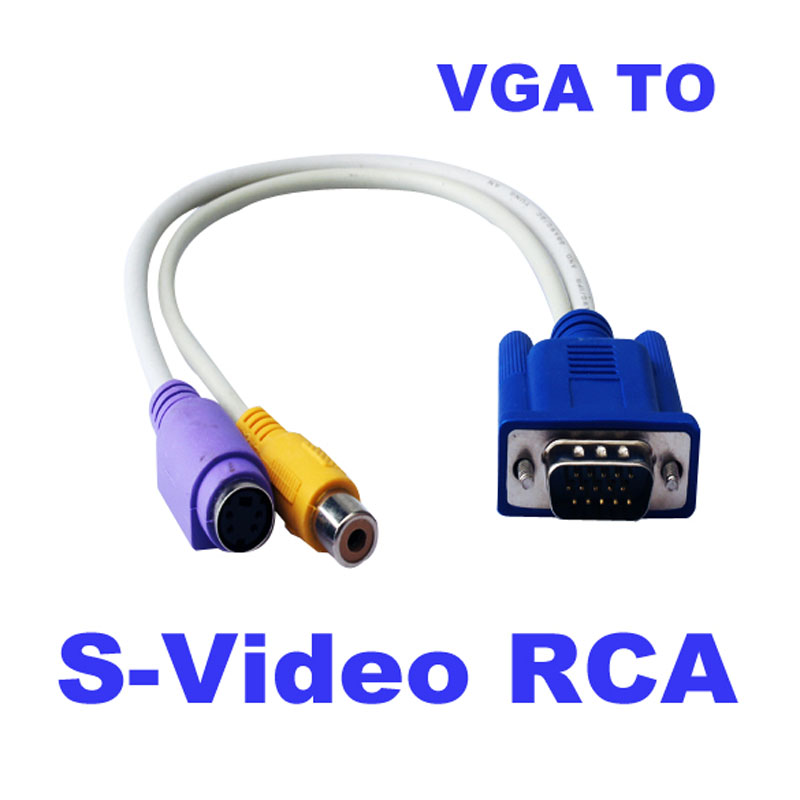 Free Shipping Cable Adapter New 15-Pin Sub-D VGA SVGA to TV RCA S-Video S Video Cable Adapter Converter Best Price(China (Mainland))