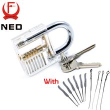 NED Transparent Visible Pick Cutaway Practice Padlock Lock With Broken Key Removing Hooks Lock Kit Extractor Set Locksmith Tool(China (Mainland))