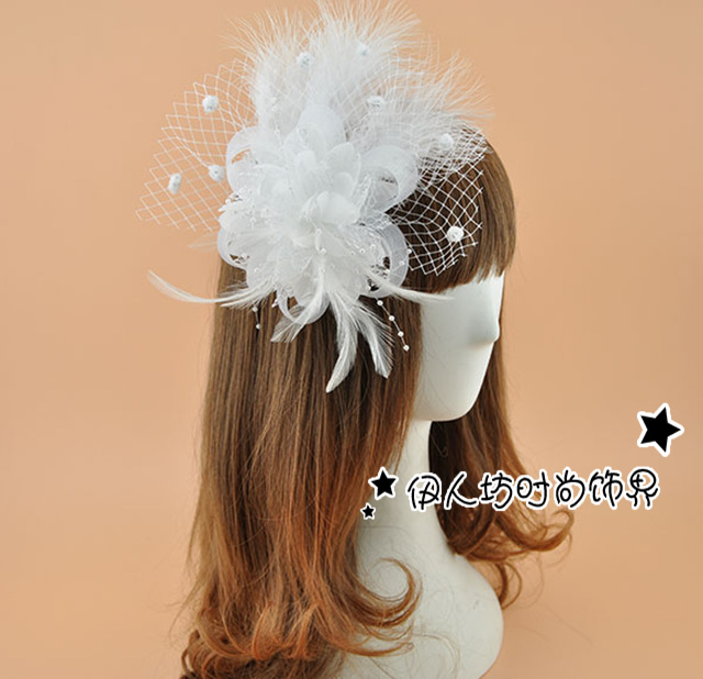 Multi-color Vintage Bridal Fascinator Hat White Feathers Aristocratic Banquet Bride Headdress Flower Hairpin Headdress For Party(China (Mainland))