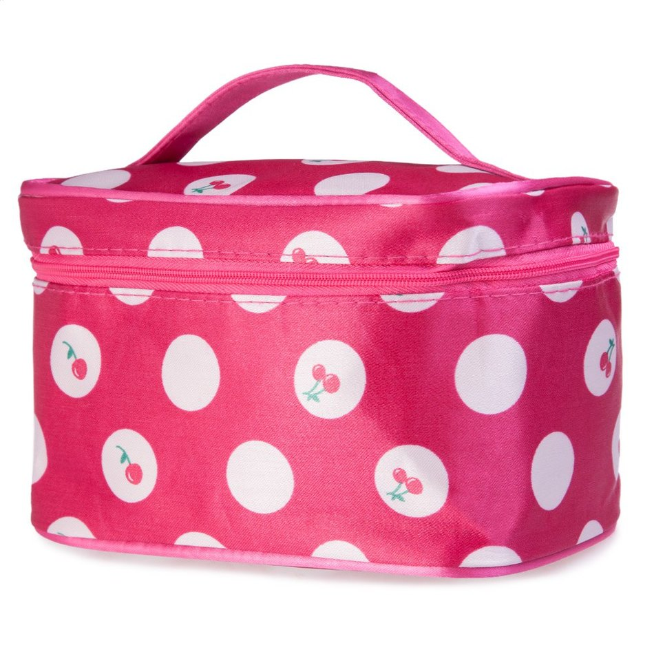 New Arrival 5 colors Large Capacity Chic Polka Dot Figure Print Makeup Bag Cosmetic Case for Daily Care Products(China (Mainland))