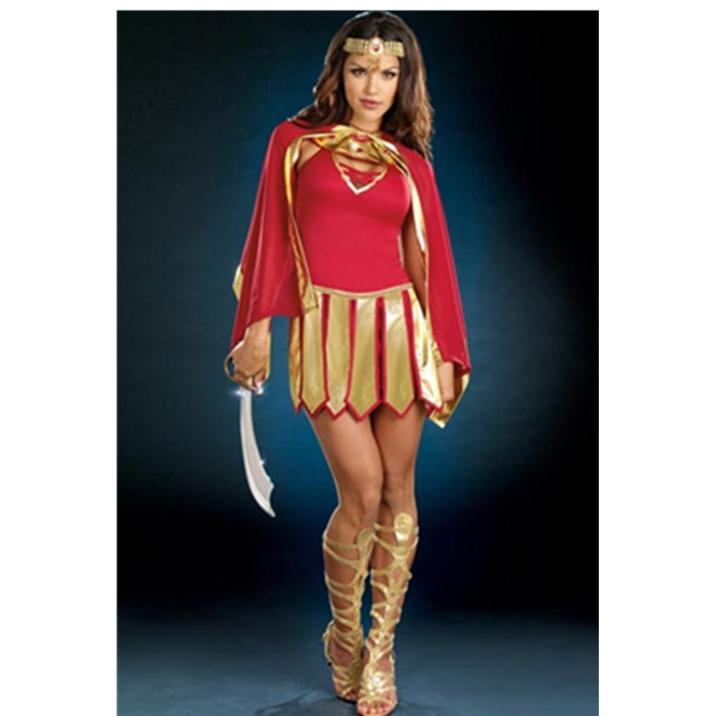 Jeweled Neckline Headwear Red Gold Convertible Dress Warrior Princess Costume Grownup Girls Cosplay Dress Fancy Costume L1464 L1464(12)800x800
