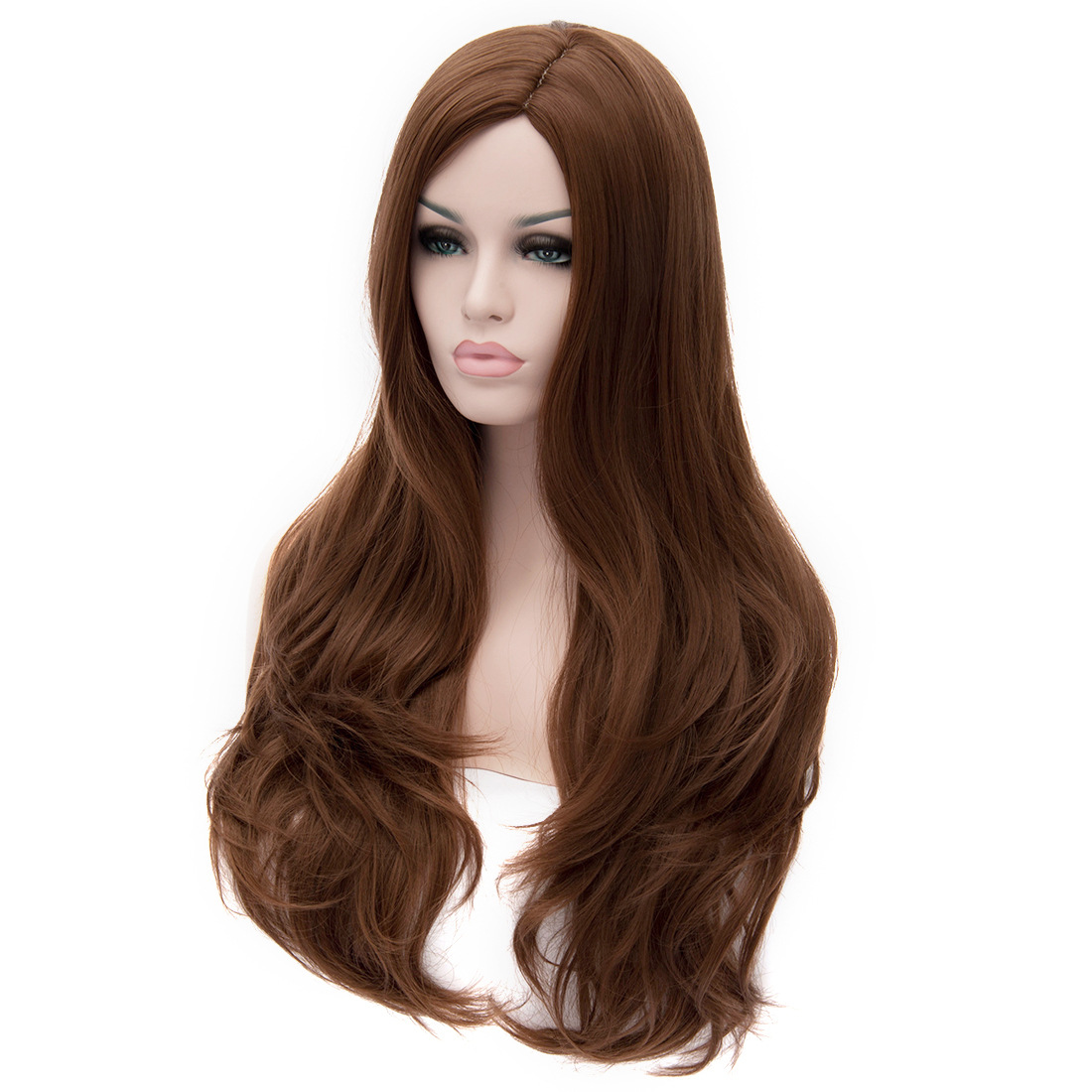 High Quality Europe and America Womens Synthetic Full Hair Wig Hot Curly Cosplay Party Long Brown Peruca Peluca Perruque Femme<br><br>Aliexpress