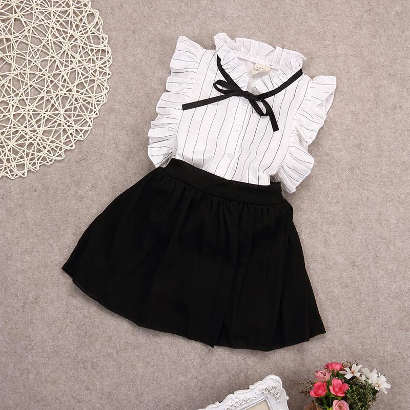 2pcs Fashion Toddler Kids Baby Girls Outfits Elegant White Sleeveless Stripe Bow Blouse Tops+White Shorts Skirt Clothes Set 2-7Y