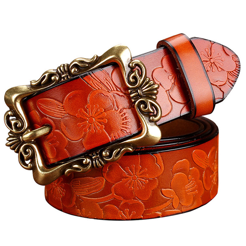 2016 New Fashion Wide Genuine leather belt woman vintage Floral Cow skin belts women Top quality strap female for jeans(China (Mainland))
