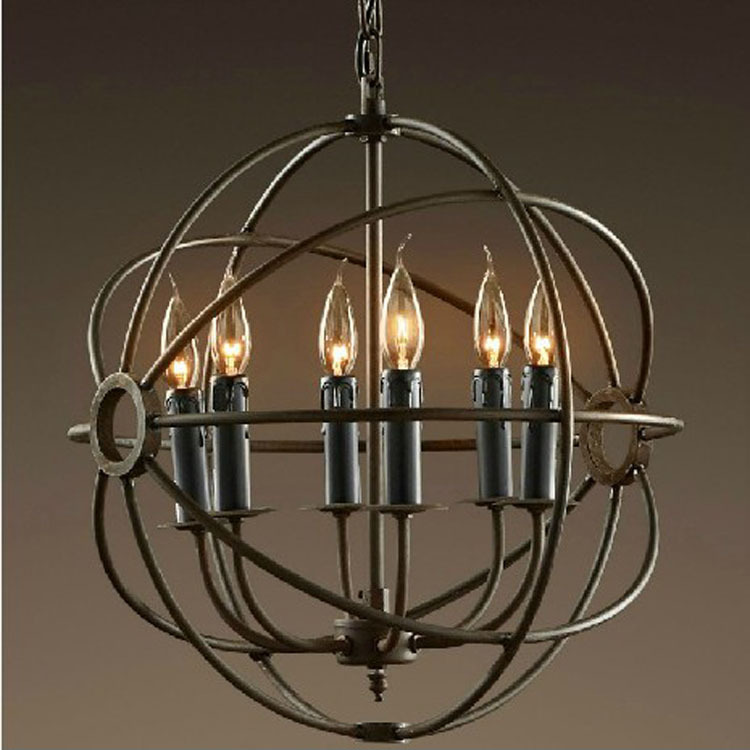cage noir bougie lustre ancien lustre de style industriel lampe ronde fer bar dans lustres de. Black Bedroom Furniture Sets. Home Design Ideas