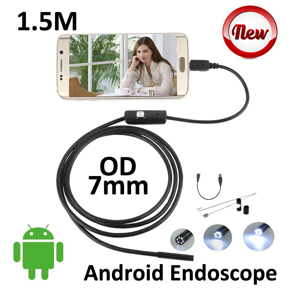 5PCS/lot 7mm len Android USB Endoscope Camera 1.5M IP67 Waterproof Snake USB Inspection Borescope Andoird OTG USB Camera 6LED(China (Mainland))