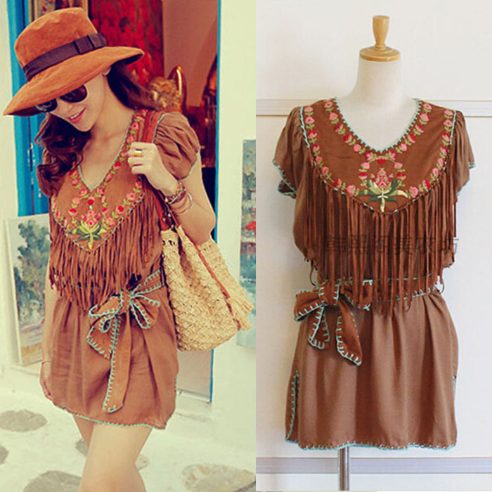 2016 spring and summer v neck bohemia one-piece dress suede soft leather tassel embroidered top national trend short mini dress