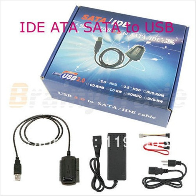 """Free Ship,with Track number high quality New USB 2.0 to IDE SATA ATA ATAPI 2.5"""" 3.5"""" HD HDD Converter Cable Adapter with Power(China (Mainland))"""