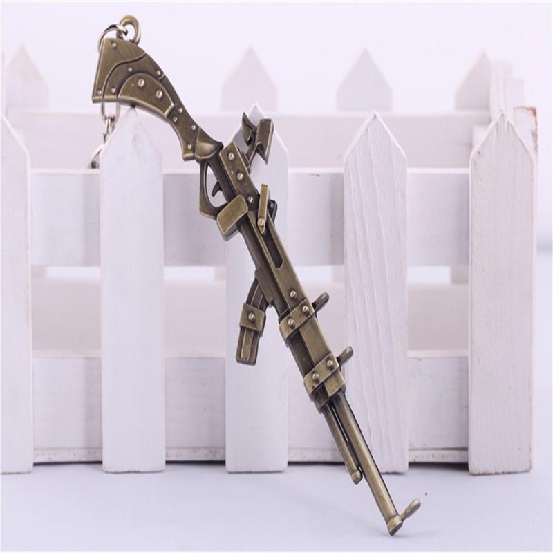 1PCS League of Legend The Sheriff of Piltover Caitlyn's Rifle Gun Keychain 12cm Metal Pendant Key Chain LOL Games Theme Keyring(China (Mainland))