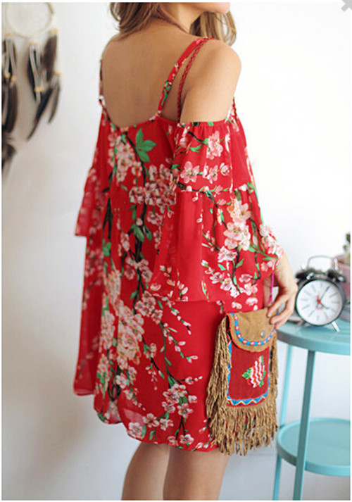 Women Red Chiffon Blouses Tops 2016 Hot Sale Sexy Off Shoulder Hollow Out Shirt Tops Short Sleeve Bohemian Tunic Blouse Blusas
