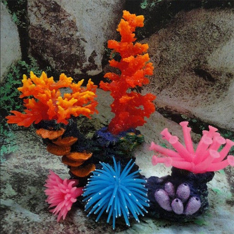 New Silicone Aquarium Fish Tank Ornament Artificial Coral Plant Underwater Decor Free Shipping(China (Mainland))