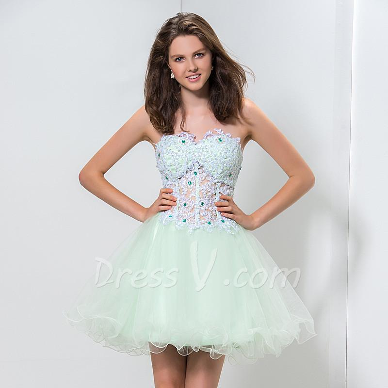Short Poofy Cocktail Dresses - Fn Dress