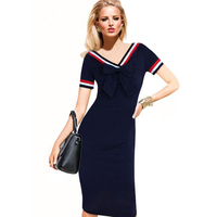 Dropshipping 2015 Womens Summer Vintage V-Neck Bow Stretchy Cute Knee-Length Casual Dodycon Pencil Dress S-XX;