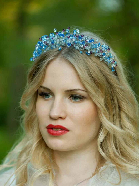 Beautiful!!! Luxury 100% Handmade Crown Tiara Bridal Wedding Blue Headbands Headpiece Evening Prom Hair Comb Jewelry HCJ665(China (Mainland))