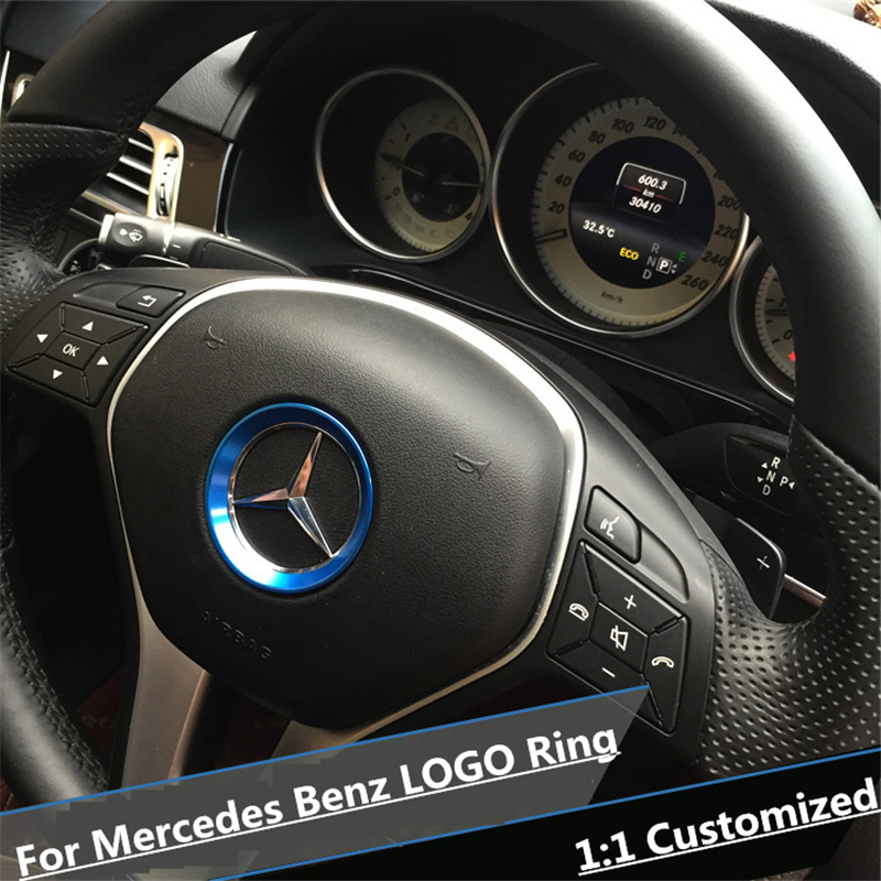 Red interior accessories steering wheel logo cover trim for Interior parts for mercedes benz