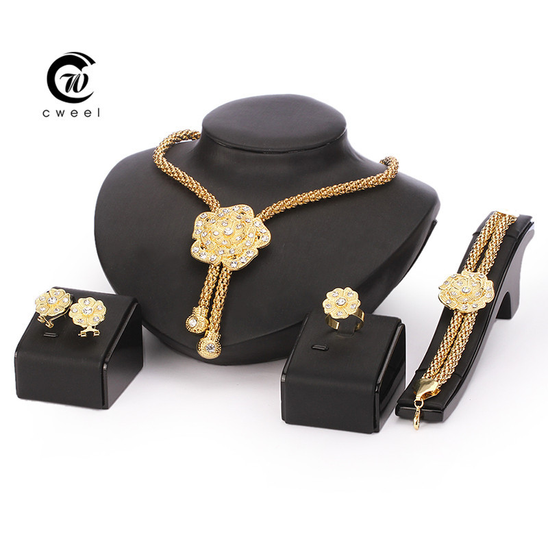 African Beads Jewelry Sets Wedding Dress Accessories Costume Women Party Gold Plated Crystal indian Necklace Bangle Earring Ring(China (Mainland))