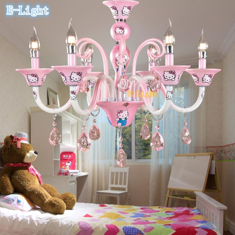 New design Modern Korean Girl Baby living room chandelier bedroom lamp lighting pink Hello Kitty crystal lustre E14 candle bulb(China (Mainland))