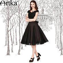 Artka Women's Slim Black Dresses 2015 Summer Slash Neck & Wide Hem Design Elegant Lady Vintage Dresses LA11158X PRESELL(China (Mainland))