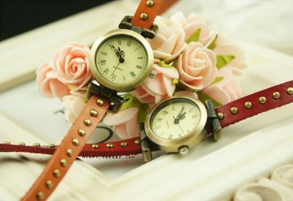 2013 new fashion cheap punk style vintage handmade long strap lap bracelet watch for girls genuine leather strap copper nail
