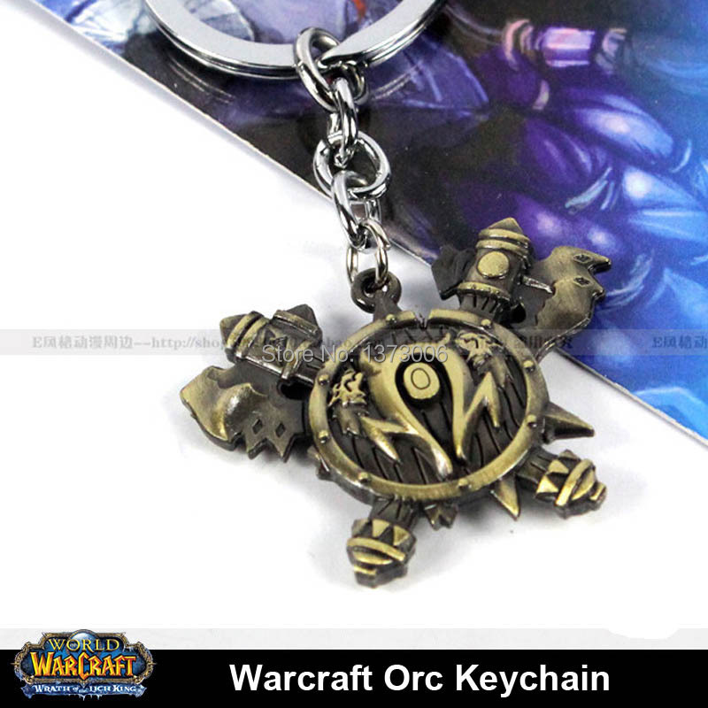 WOW Orc Logo Metal Keychain World Of Warcraft Figure Jewelry Toy Pendant Key Chain Gift<br><br>Aliexpress