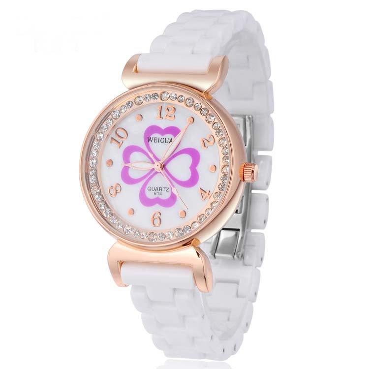 Top brand 2015 casual quartz analog oval design with crystal diamonds roman number rose gold ceramic watches women Best Price<br><br>Aliexpress