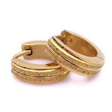 Wholesale 24pair Stainless Steel Golden Scrub Stud Hoop Mens Earrings(China (Mainland))