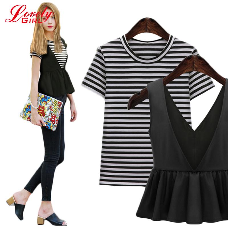 2016 Plus Size Dress Short Sleeve Two Piece Set Women Fashion Large Size Women's Fashion Clothing 2 Piece Dress Sale(China (Mainland))