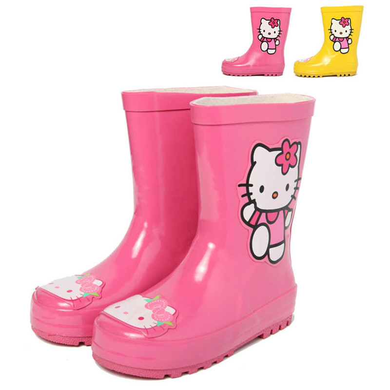 2016 Kitty Cat Kids Rain Boots Baby Girls Outdoor Waterproof Rubber PVC Water Shoes Children Fashion Soft Flat Snow Wear Shoes(China (Mainland))