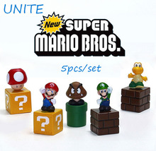 2016 New Super Mario Bros mini figures 5pcs/lot Toy bundle 5cm 2″ Mario Goomba Luigi Koopa Troopa Mushroom Hot Sale