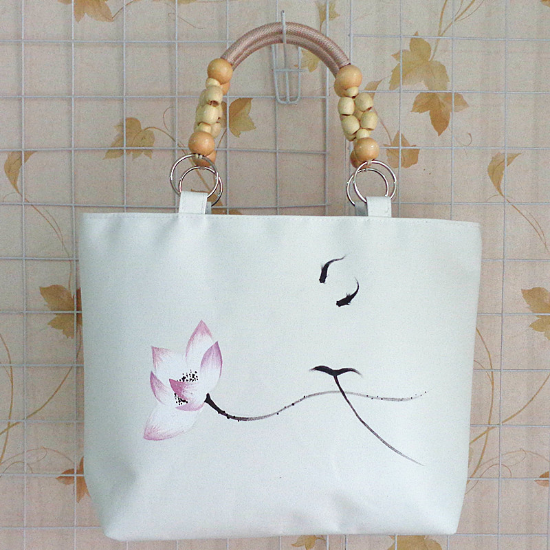 Ink canvas handbag large national vintage women's hand-painting shoulder bags white travel shopping bag high quality(China (Mainland))